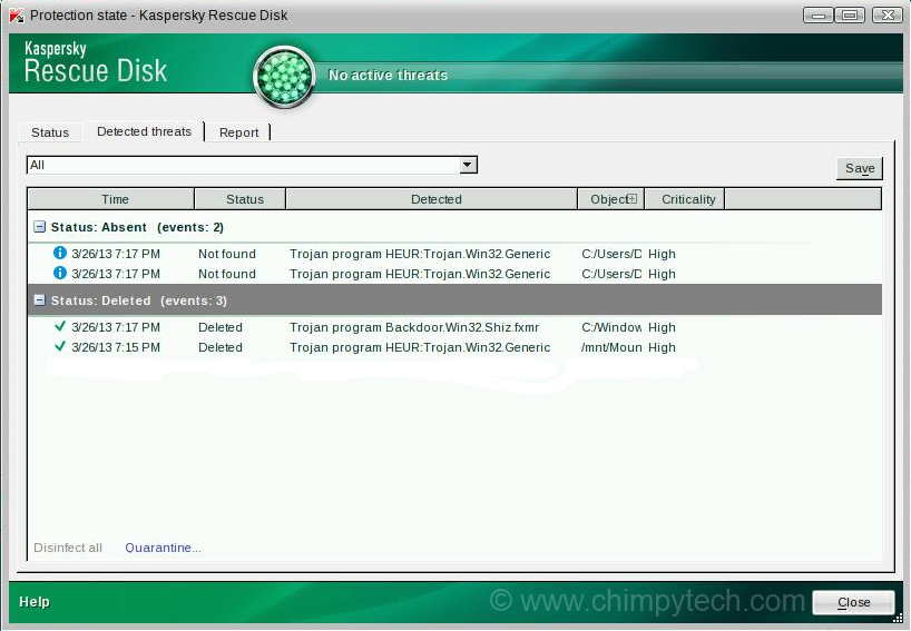 Kaspersky Rescue Disk Results Screen