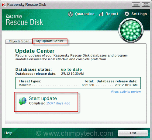 Kaspersky Rescue Disk Update Screen