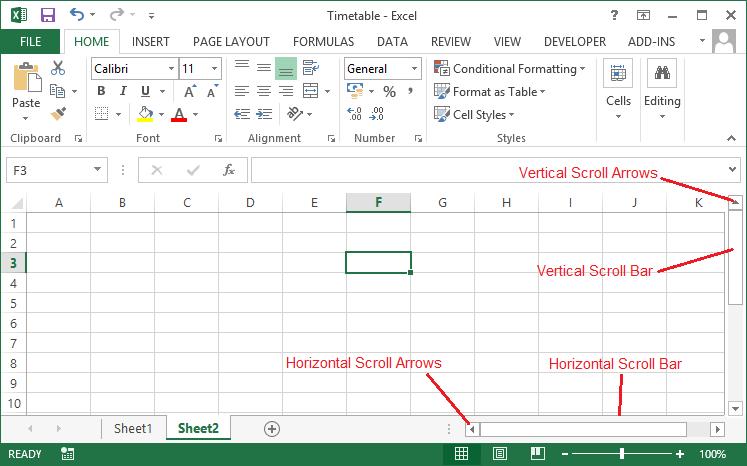Navigating Excel 2013 Worksheets