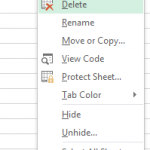 Delete Excel Worksheet