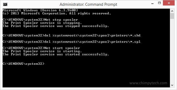 Clear Windows 8 Print Queue