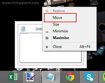 Retrieve a window that is off screen chimpytech for Window off screen