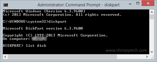 Using the diskpart tool to list disks