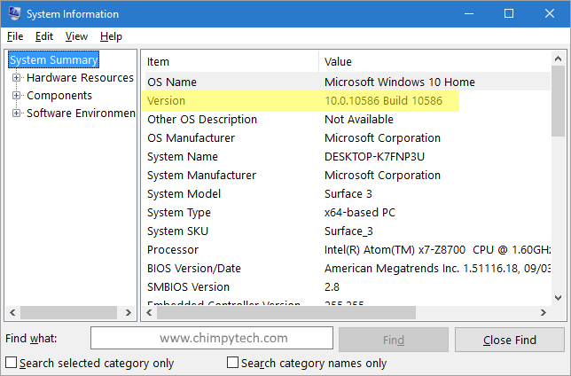 Find Windows 10 Build Number