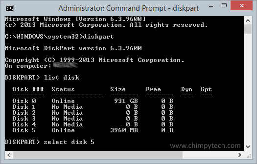 listing attached disks using the diskpart tool