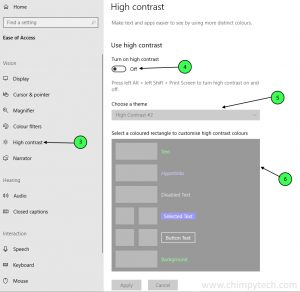 Setting High Contrast Mode in Windows 10